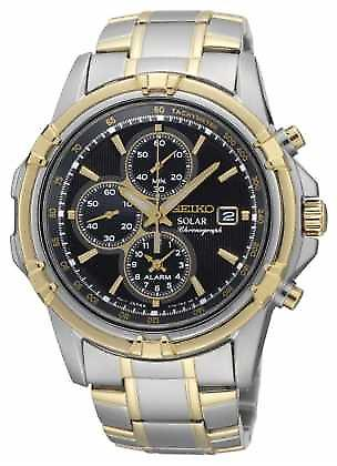 Seiko Mens Two Tone Black Dial Solar Power Chronograph SSC142P1 Watch