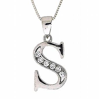 TOC Sterling Silver Clear CZ Set Initial 'S' Pendant Necklace 18