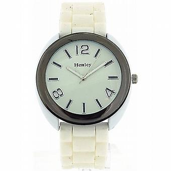 Henley Glamour Gunmetal Bezel White Silicone Strap Ladies Watch H0880.3