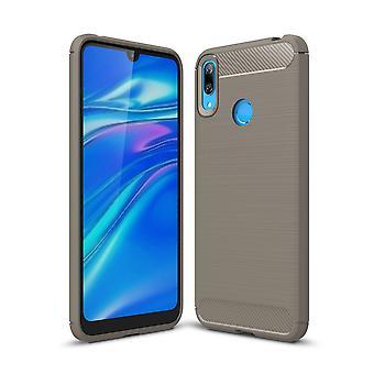Huawei Y7 2019 TPU Case Carbon Fiber Optics Brushed Protection Case Grey