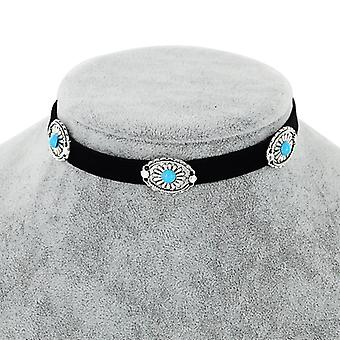 Vintage Flower - Turquoise Beaded Choker Necklace-Brown