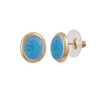 Eternal Collection Minuet Light Blue Opal Gold Tone Stud Pierced Earrings (MM)