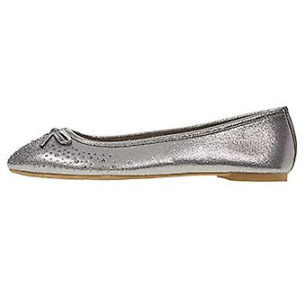 Chatties Women's Ballet Flats Perforated with Ribbon Rhinestones