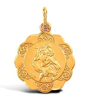 Jewelco London 9ct Yellow Gold Scallop Edged St Christopher Medallion Pendant