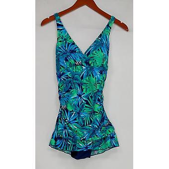 Ocean Dream Signature Swimsuit Floral Palm X-Back Navy Blue A288821