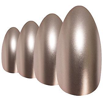 False nails by bling art beige matte metallic almond stiletto fake acrylic tips