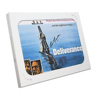 Affiche de Film délivrance signée Burt Reynolds dans une boîte cadeau