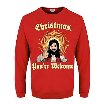 Grindstore Mens You're Welcome Christmas Jumper