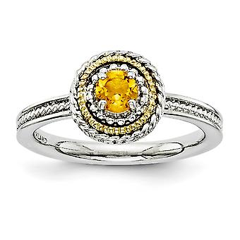 2.25mm 925 Sterling Silver Polished Prong set Rhodium-plated and 14k Stackable Expressions 925 Sterling Silver Citrine R