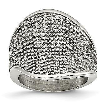 Acciaio inossidabile spazzolato martellata anello - anello Dimensione: 6-7
