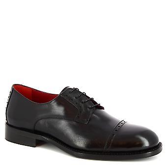 Leonardo Shoes Men-apos;s chaussures de derby à lacets faites à la main en cuir de veau noir