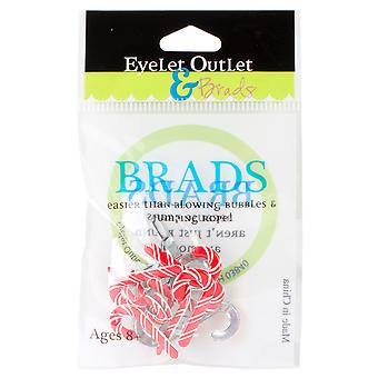 Eyelet Outlet Shape Brads Candy Cane Qbrd 52A