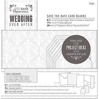 Papermania Ever After Wedding Blank Cards 25/Pkg-White Damask Screen Print PM158151