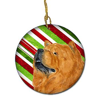 Chow Chow Candy Cane Holiday Christmas Ceramic Ornament SS4571