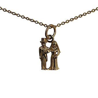 9ct Gold 13x9mm solid Bride and Groom Pendant with a cable Chain 16 inches Only Suitable for Children