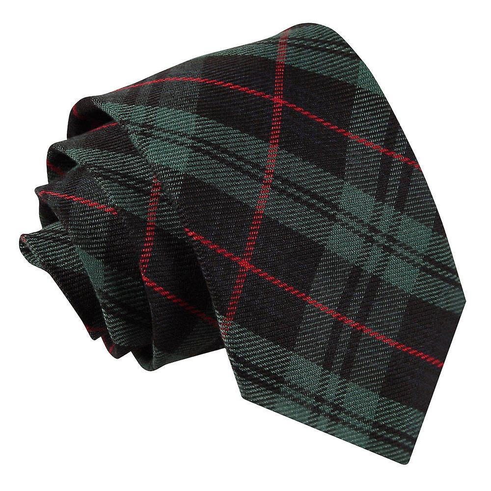 Tartan Black & Green with Red Tie