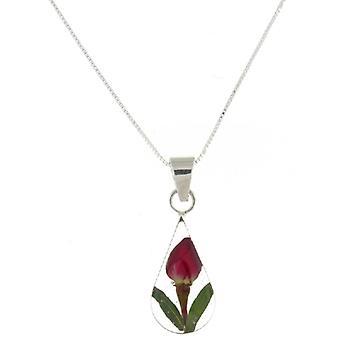 Shrieking Violet Sterling Silver Rose Flower Bud Teardrop Pendant