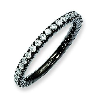 Sterling Silver Black Plated With CZ Ring - Ring Size: 5 to 8