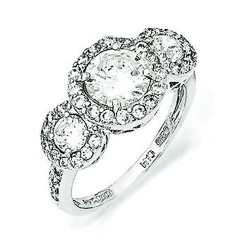 Sterling Silver CZ 3-stone Ring - Ring Size: 6 to 8