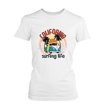Camiseta puesta del sol Palma árbol Mini Van divertida camiseta California surf vida gráfica de las mujeres
