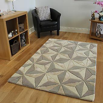 En laine Beige & Gris tapis géométriques botanique