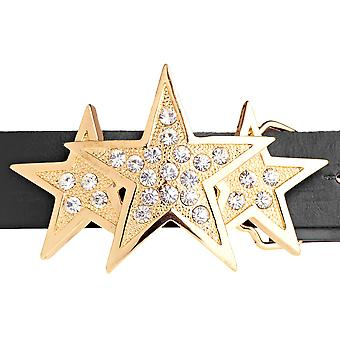 Iced out bling bælte - TRIPLE STAR guld