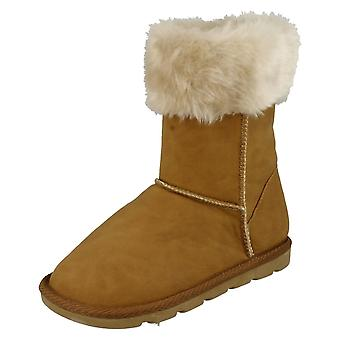 Girls Spot On Faux Fur Trim Casual Boots