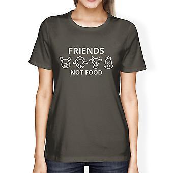 Friends Not Food Dark Grey Women Unique Design T Shirt Gift For Her
