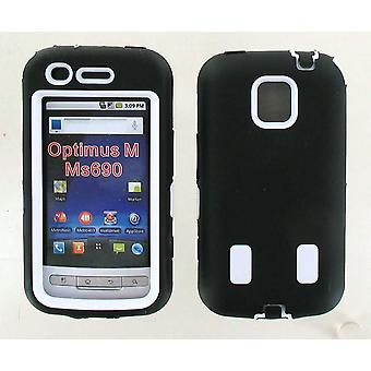 Dual Snap On Hard Case for LG Optimus M MS690 (Black/White)