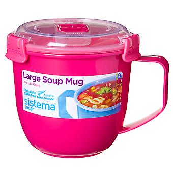 Sistema Large Klip It Microwave Soup To Go Mug, 900ml, Pink