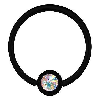 BCR Black Titanium Piercing 1,2 mm, SWAROVSKI ELEMENTS Aurora Borealis | 6-12 mm