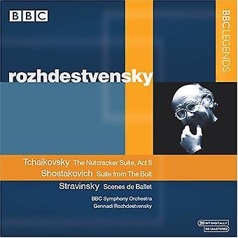 Gennandi Rozhdestvensky - Tjajkovskij: Nøddeknækkeren; Sjostakovitj: Bolt, Suite [CD] USA importerer