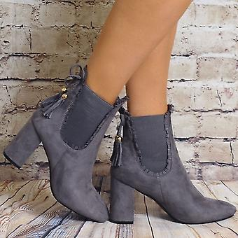 Shoe Closet Grey Chelsea Boots - Ladies Td15 Grey Faux Suede Chelsea High Heels Ankle Boots