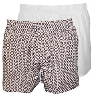 HANRO 2-Pack fantaisie tissé Boxer Shorts, blanc/rouge
