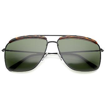 Óculos de aviador retrô testa sotaque fino Metal Frame quadrado 61mm