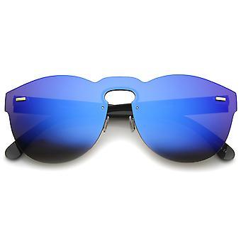 Futuristic Rimless Mono Flat Lens Horn Rimmed Shield Sunglasses 73mm