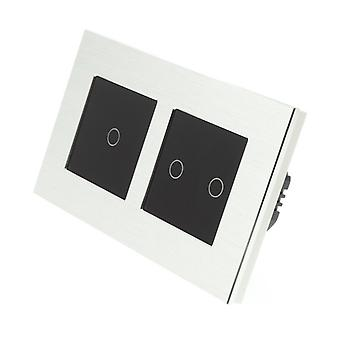 I LumoS Silver Brushed Aluminium Double Frame 3 Gang 1 Way Remote Touch LED Light Switch Black Insert