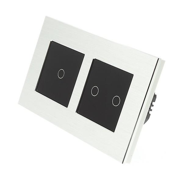 I LumoS argent Brushed Aluminium Double Frame 3 Gang 2 Way Remote Touch LED lumière Switch noir Insert