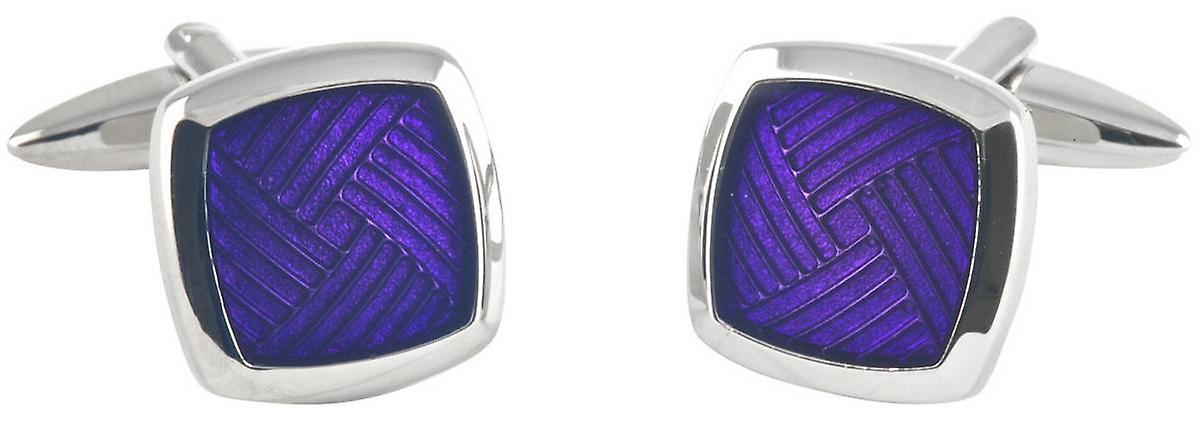 David Van Hagen Epoxy Striped Sqaure Cufflinks - Silver/Purple