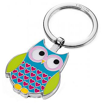 Troika Rosy Owl Key Ring - Blue/Green/Pink