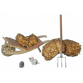 Push Cart with straw and hay-fork for Christmas Nativity crib accessories