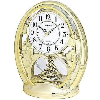 Table clock quartz watch gold tone rhythm with rotating pendulum desk clock 25 x 21 cm