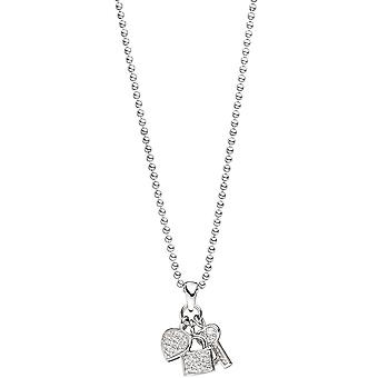 Rhodium-plated 925 sterling silver with cubic zirconia pendant heart / lock / key