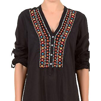 Iconique IC7-031 Women's Black Aztec Embroidered Blouse Cover Up