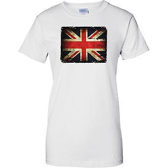 Bandera de Union Jack Grunge efecto - señoras T Shirt