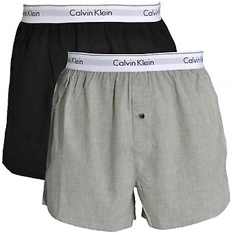Calvin Klein Modern Cotton Slim Fit Woven Boxer 2-Pack, Black / Heather Grey, X-Large