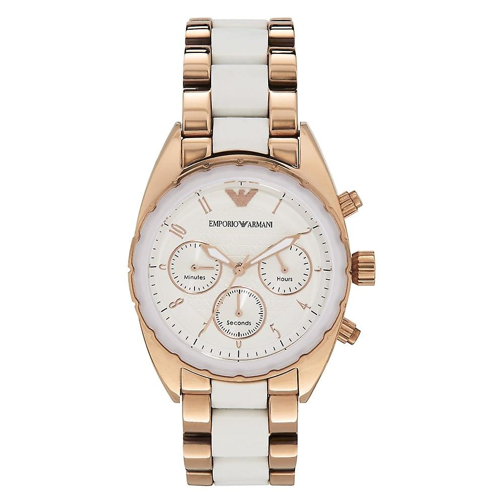 Armani Watches Ar5942 White & Rose Gold Stainless Steel Chronograph Ladies Watch