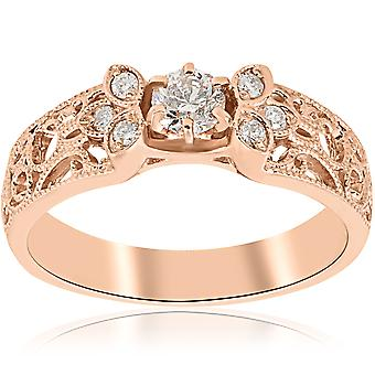 1/2 CT Vintage Diamond Engagement Ring 14K Rose Gold
