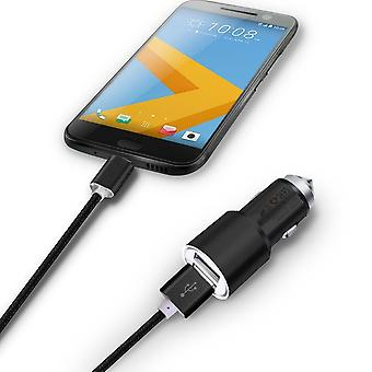 ONX3 (Black) Quick Charge Dual Port USB Full Aluminium Cased Car Charger Adaptor (3.1A/24W) With Break Glass Safety Hammer & 1 Meter Type-C Nylon Braded Data Cable For Sony Xperia XZs