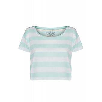 pièces Emma new printed shirt ladies crop top turquoise with stripes